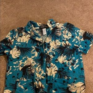 vintage tropical button up shirt